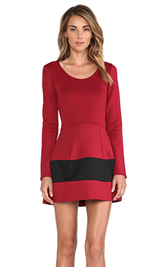 Boulee Marilyn Long Sleeve Techno Dress in Wine