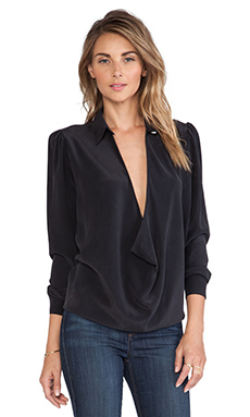 Boulee Tara Washed Silk Top in Black