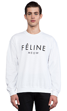 Brian Lichtenberg Feline Sweatshirt in White/Black