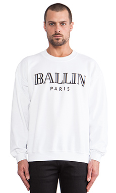 Brian Lichtenberg Ballin Sweatshirt in White/Black