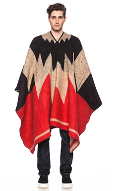 Brixton Barry Poncho Blanket in Red & Cream