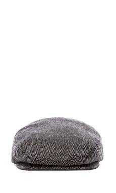Brixton Hooligan Cap in Grey Black Herringbone