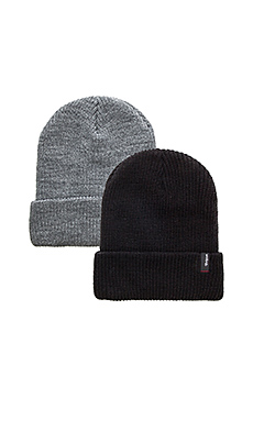 Brixton 2 Pack Heist Beanie in Black & Light Heather Grey
