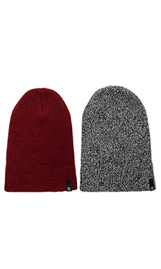 Brixton 2 Pack Heist Beanie in Black Grey Heather/ Heather Red