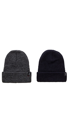 Brixton 2 Pack Heist Beanie in Navy & Heather Grey