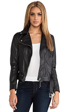BROGDEN Leather Moto Jacket in Black
