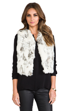 BSABLE Lila Faux Fur Vest in Ivory Grey