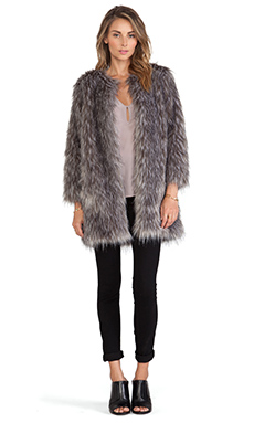 BSABLE Stella Faux Fur Jacket in Grey