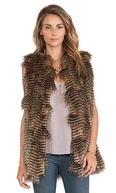 BSABLE Wendy Faux Fur Vest in Mixed Raccoon
