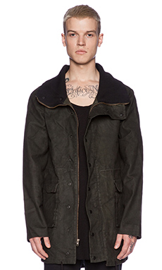 B:Scott Waxed Anorak Mock Jacket in Olive Green
