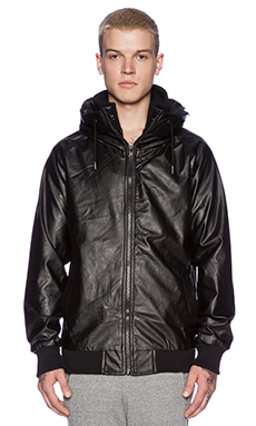 B:Scott Mid-Mock Faux Leather Jacket in Black