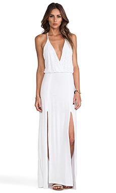 Bettinis Crochet Maxi Dress in White Wash