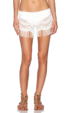 Bettinis Lace Fringe Shorts in Bone