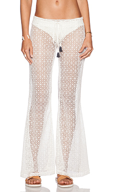 Bettinis Crochet Flare Pants in Bone