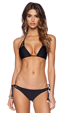 Bettinis Strappy Triangle Bikini Top in Black