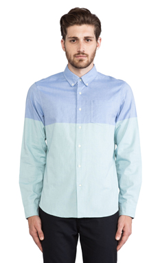 Burkman Bros. Oxford Button Down in Green/Blue