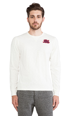 Burkman Bros. L/S Graphic Jersey Tee in White/Feather Graphic