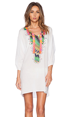 Caffe Mini Embroidered Caftan in White