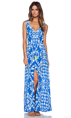 Caffe Maxi Dress in Blue & White
