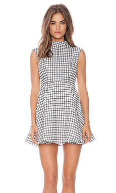 Cameo Night Sky Dress in White Check