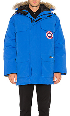 Canada Goose Polar Bears International Expedition Parka with Coyote Fur Trim in PBI Blue