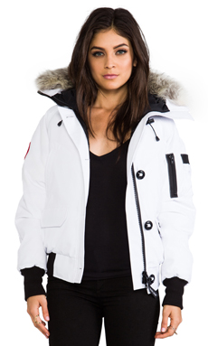Canada Goose Chilliwack Bomber with Fur Collar in White