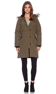 Canada Goose Kensington Parka with Coyote Fur Trim in Military Green