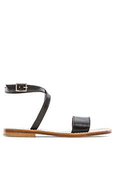 Capri Positano Ankle Wrap Single Bar Sandal in Black