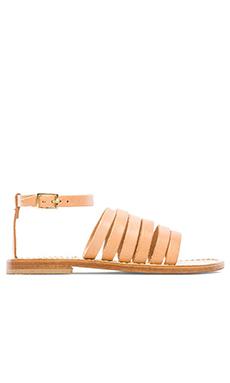 Capri Positano Lineal Band Sandal in Light Tan