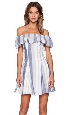Capulet Spanish Shoulderless Mini Dress in Blue Stripe