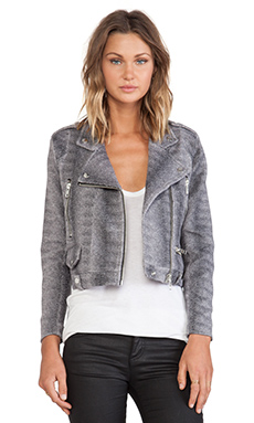 Capulet Moto Jacket in Grey Micro Animal Print