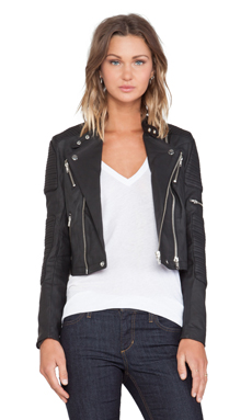 Capulet Leather Racing Moto Jacket in Black