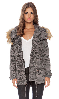 Capulet Vegan Fur Hooded Parka in Grey Camouflage