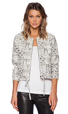 Capulet Jacquard Bomber Jacket in Winter White