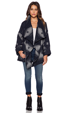 Capulet Wrap Jacket in Navy & Grey Jacquard