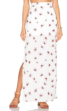 Capulet High Waist Side Slit Skirt in White Floral