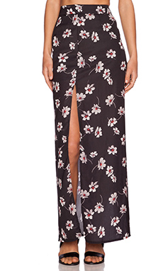 Capulet High Waist Side Slit Skirt in Black Floral