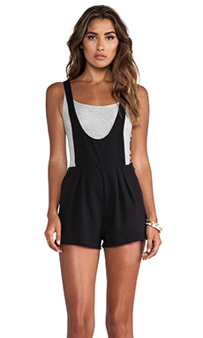 Capulet Scoop Front Overall Shorts in Black