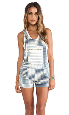 Capulet Overall Short in Railroad Stripe