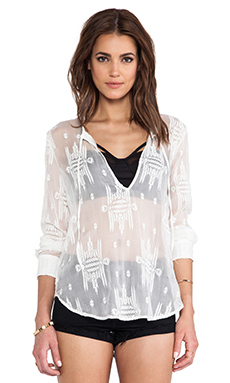 Capulet Lace Up Blouse in White Aztec
