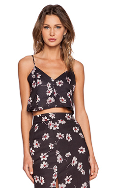 Capulet Flared Crop Camisole in Black Floral