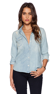 Capulet Distressed Denim Shirt in Vintage Blue