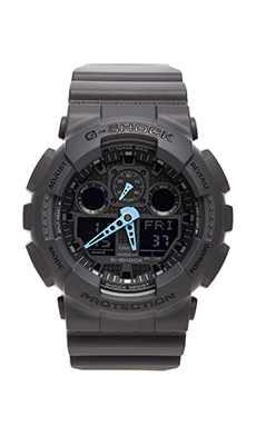 G-Shock GA-100 Neon Highlights in Black/Blue