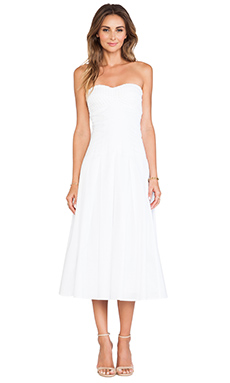 Catherine Malandrino Gia Strapless Tea Length Bustier Dress in Blanc