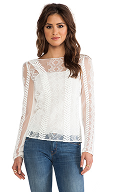 Catherine Malandrino Long Sleeve Top in Blanc