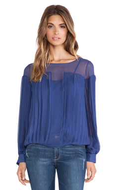 Catherine Malandrino Iona Pleated Blouse in Prussian