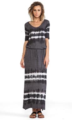 C&C California Elbow Sleeve Maxi Dress Tie Dye in Faded Black