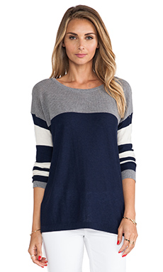 C&C California Mesh & Stripe Mix Sweater in Navy