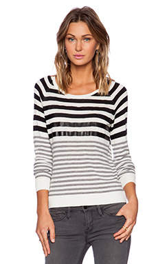 C&C California Stripe Sweater With Faux Leather Detail in White