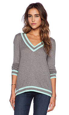 C&C California V Neck Tipped Sweater in Light Heather Grey